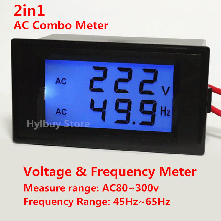 60 Hertz Frequency Meter : Digital led ac voltage voltmeter frequency panel meter