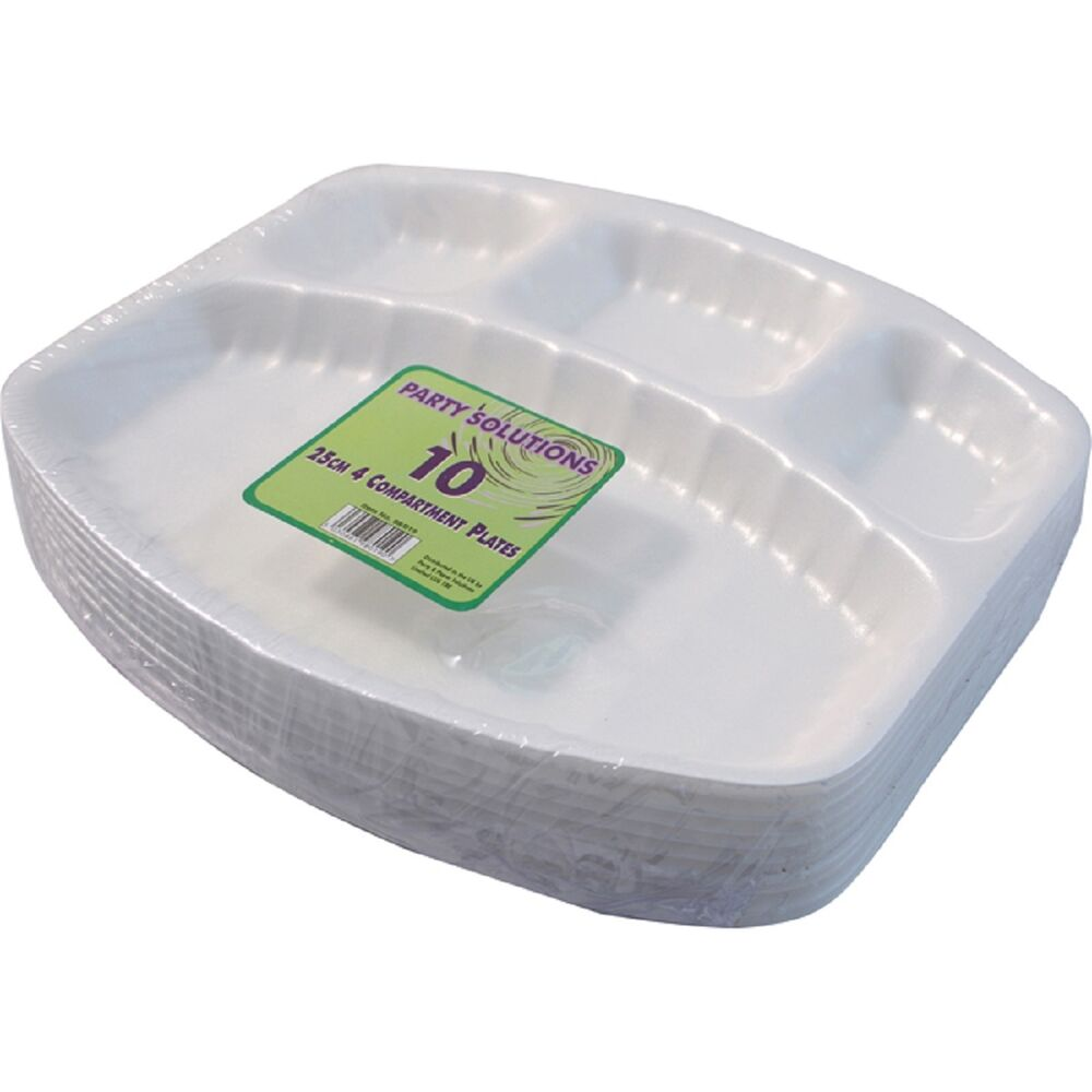 20 X 25cm Disposable Plates White Foam Polystyrene Party