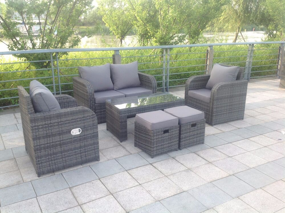 lotus rattan garden furniture set sofa dining table chairs On outdoor furniture ebay