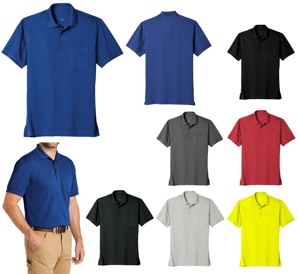 Men 39 s industrial work polo shirt stain resistant pocket for Mens 5x polo shirts