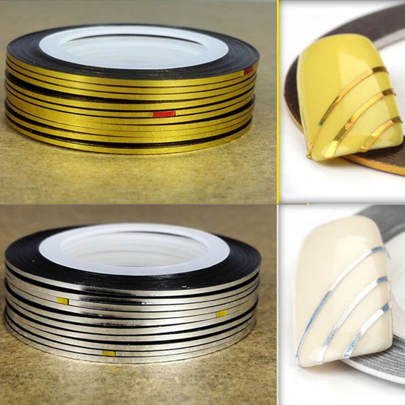 Gold Striping Tape Nail Art: 5 Gold + 5 Silver Rolls Nail Tape Stickers Stripes Lines