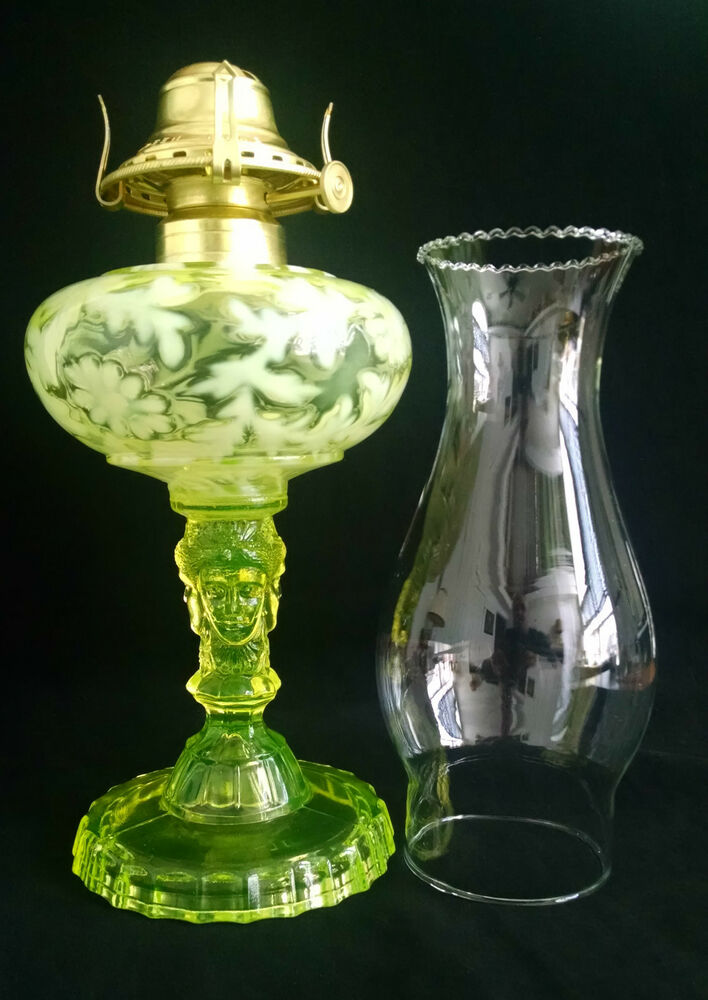 three 3 face lamp vaseline glass made in usa from mold formerly owned. Black Bedroom Furniture Sets. Home Design Ideas