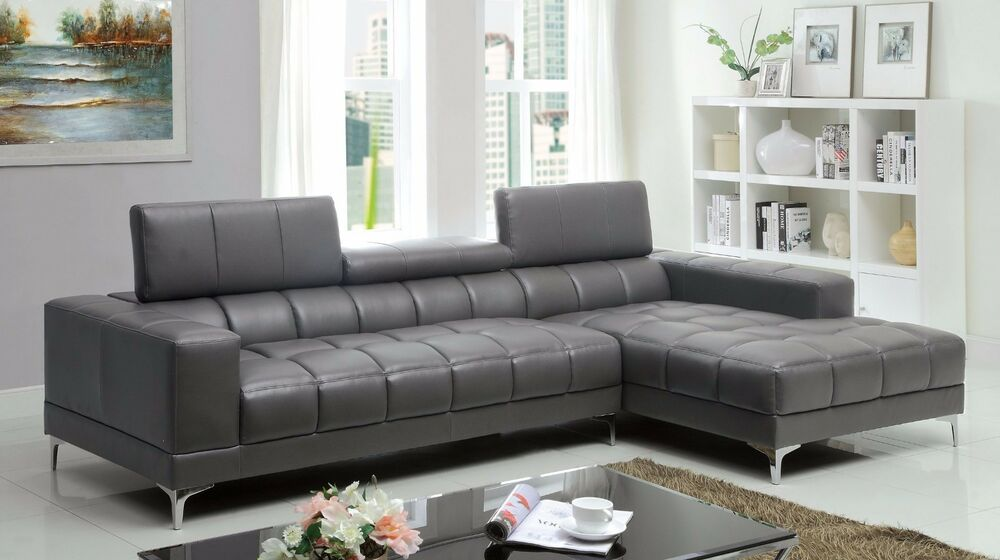 Bonded leather sectional sofa gray color contemporary chrome legs design set ebay - Decorate grey contemporary sofahow to decorate with grey contemporary sofa ...