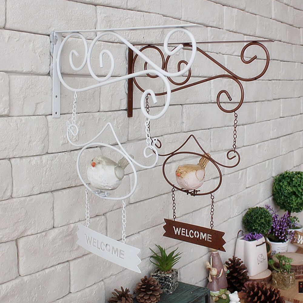 Vintage metal wall hanging welcome plaque sign resin bird for Jardin decor 37