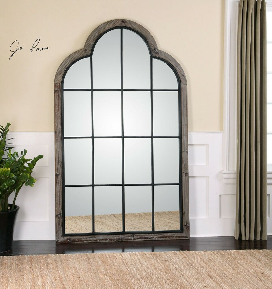 Oversized 80 divided light window arch mirror wall for Floor wall mirror