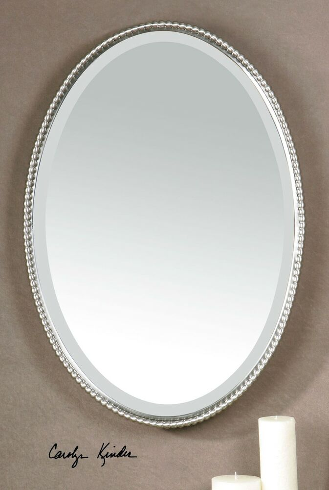 Beaded oval silver vanity wall mirror thin nickel metal for Thin wall mirror