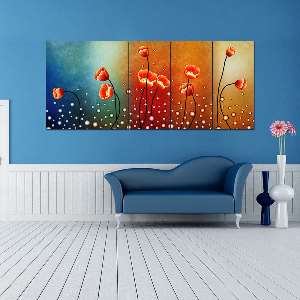 ready to hang large 5 panels flowers modern hd canvas prints wall art paintings ebay. Black Bedroom Furniture Sets. Home Design Ideas
