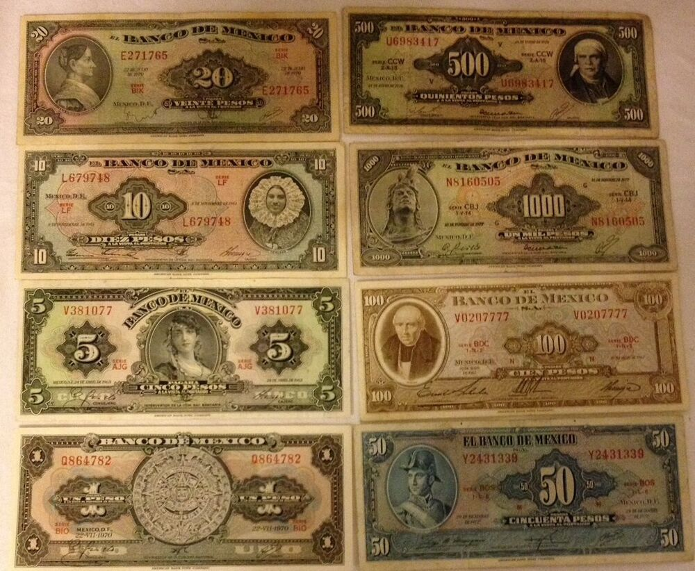 Mexico Old Pesos In Paper Money Lot Of 8 Ebay