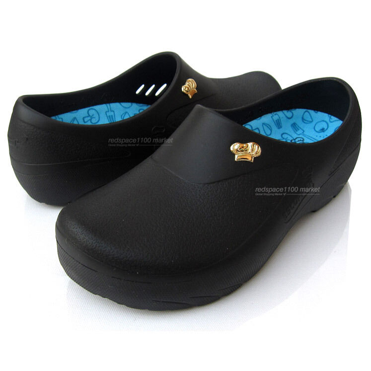 women chef shoes comfort clogs kitchen nonslip shoes safety black ...