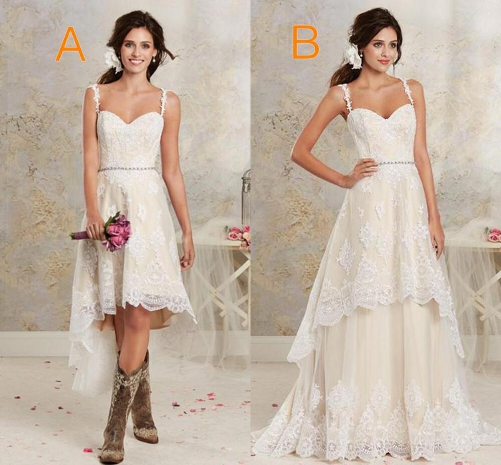 2016 two styles lace country wedding dresses garden hi lo for Dresses for a country wedding