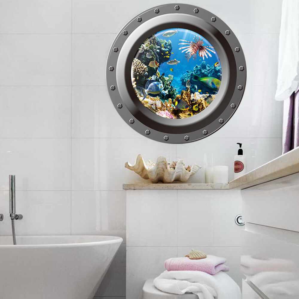3d fish ocean window view removable wall sticker decal for Bathroom wall mural