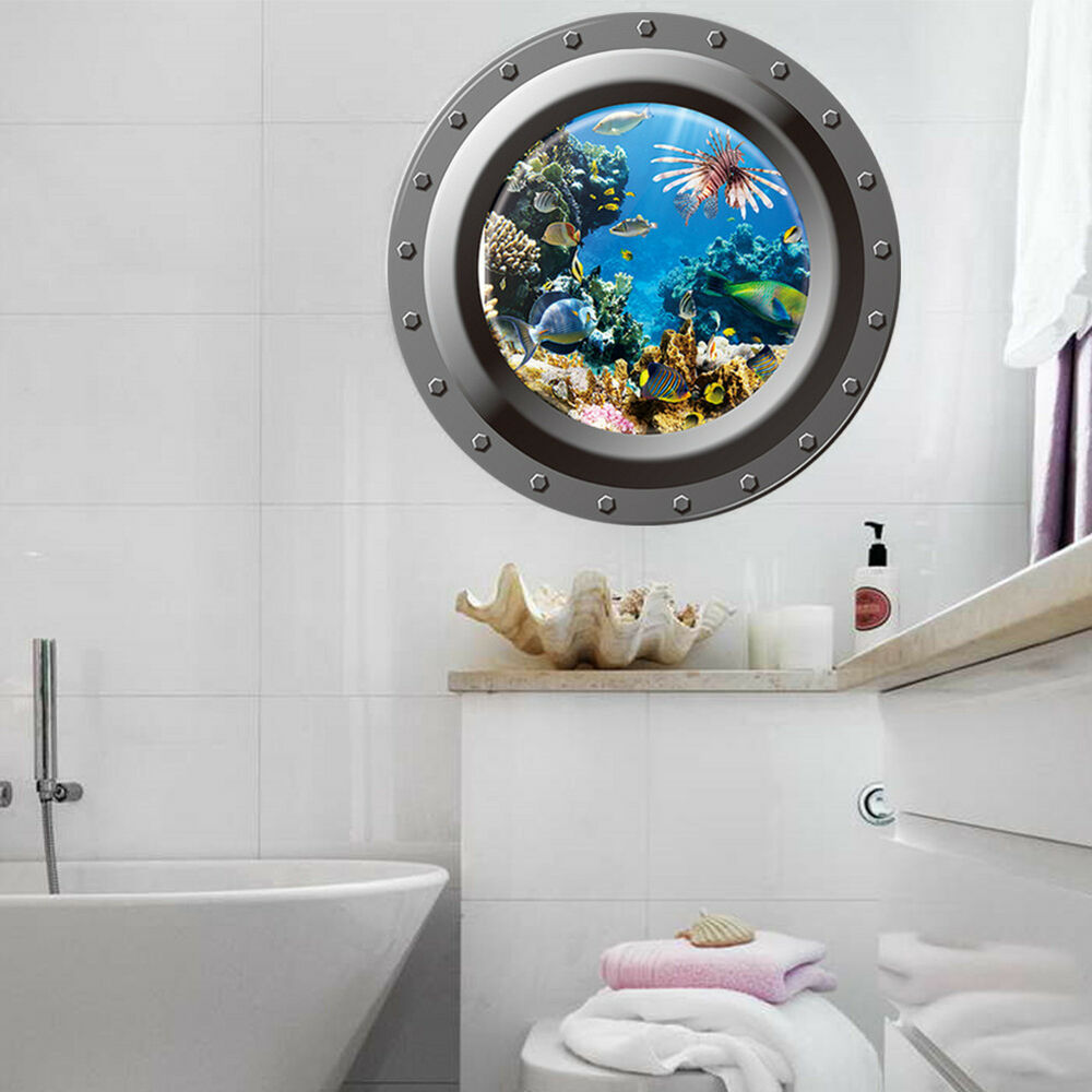 3d fish ocean window view removable wall sticker decal for 3d bathroom decor