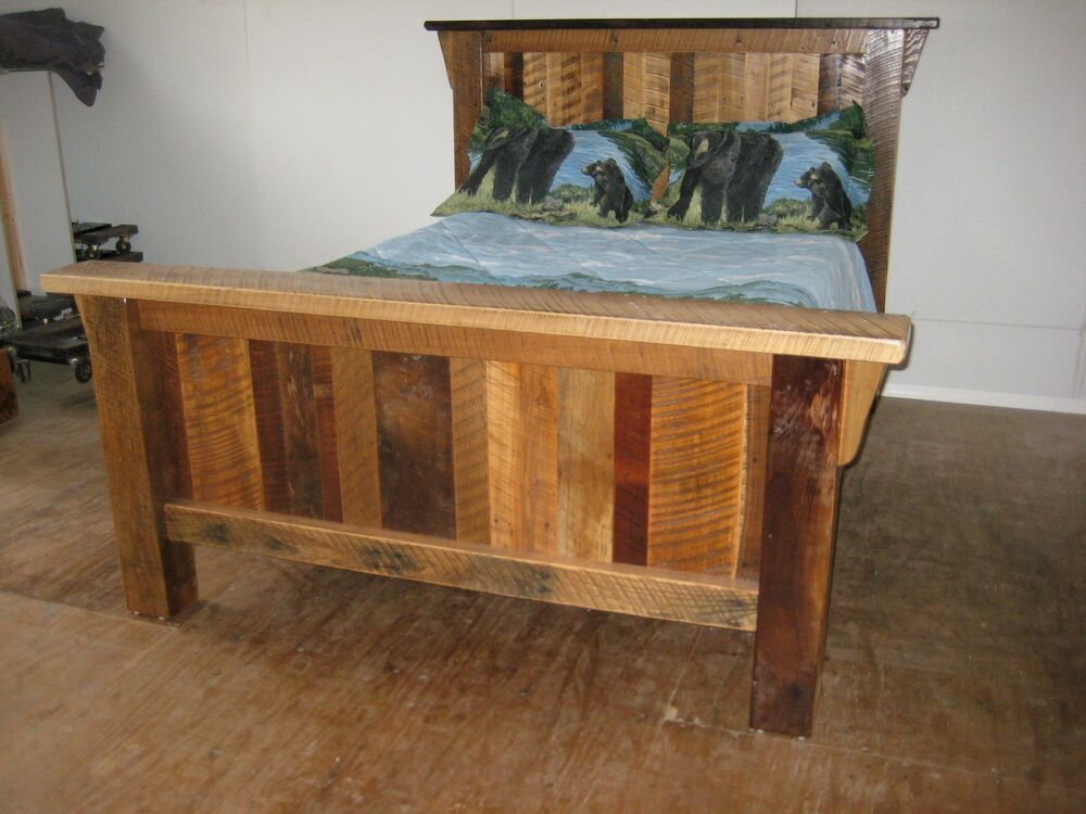 Rustic barn wood furniture full size bed frame custom for Furniture barn