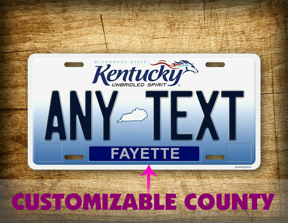 "Customized License Plates >> CUSTOM KENTUCKY License Plate Unbridled Spirit State ""Any Text"" Personalized Tag 