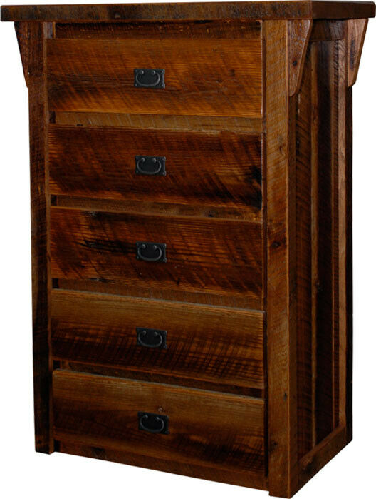 Rustic barn wood furniture 5 drawer dresser amish made for Rustic furniture