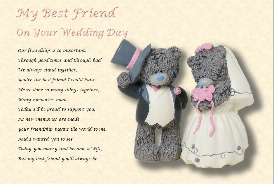 Gift For Best Friend On Wedding Day: MY BEST FRIEND - On Your Wedding Day ( Laminated Gift)