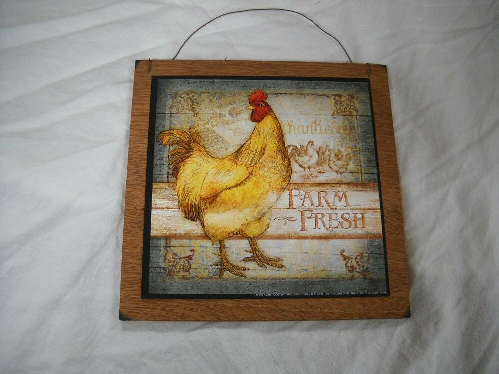 Farm Fresh Rooster Country Kitchen Wooden Wall Art Sign ...