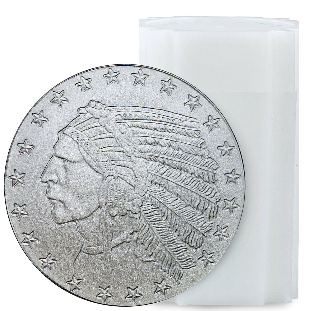 Roll Of 20 Incuse Indian Head 1 Troy Oz Silver Round