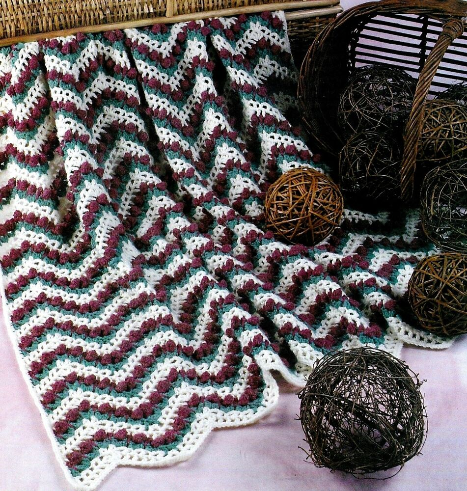 PRETTY Rosebud Ripple Afghan/Crochet Pattern Instructions ...