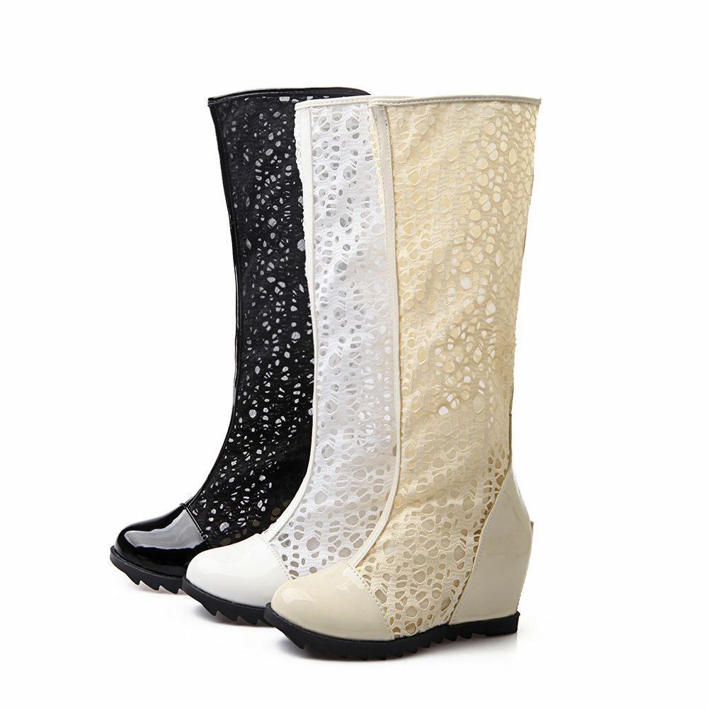womens hollow lace wedge heel knee high summer boots