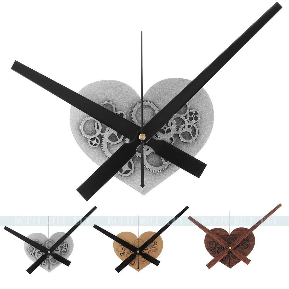 retro large hands wall clock heart mechanical gear design