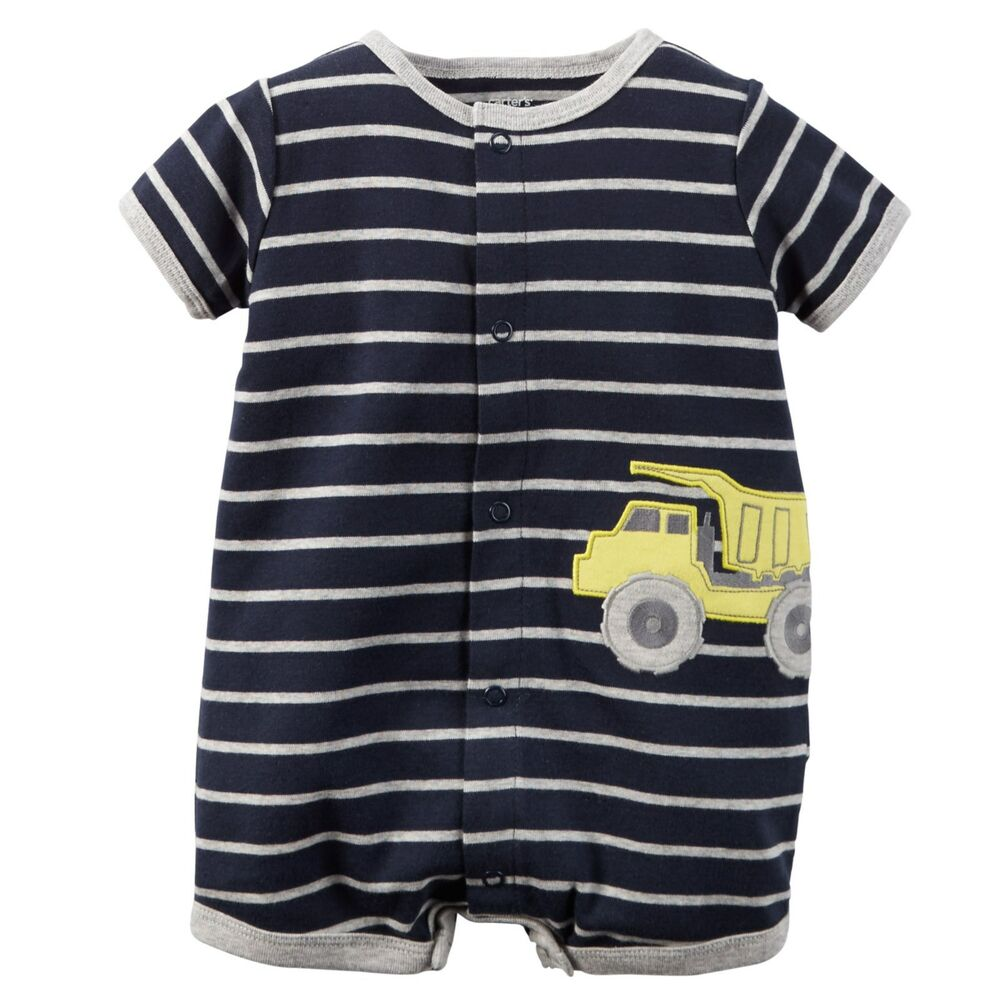 007991aa5 Details about New Carter's Boys Summer Romper Truck Applique Outfit NWT 3m  6m Navy Blue