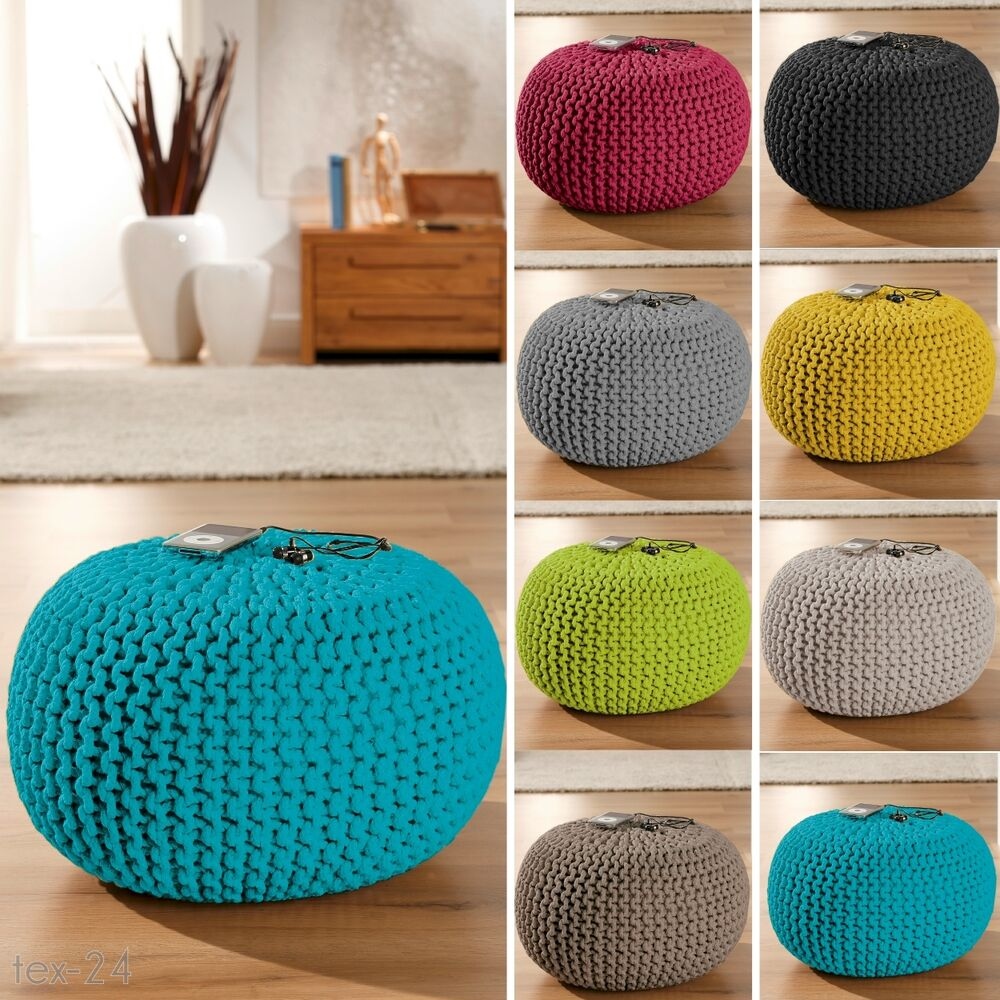neu strickpouf sitzpouf sitzkissen sitzhocker strick sitz. Black Bedroom Furniture Sets. Home Design Ideas