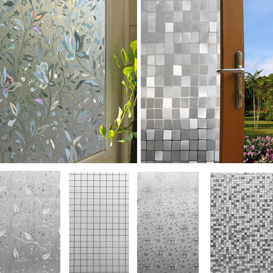 45x100cm 3d static cling home window film stained glass paper frosted decorative ebay. Black Bedroom Furniture Sets. Home Design Ideas