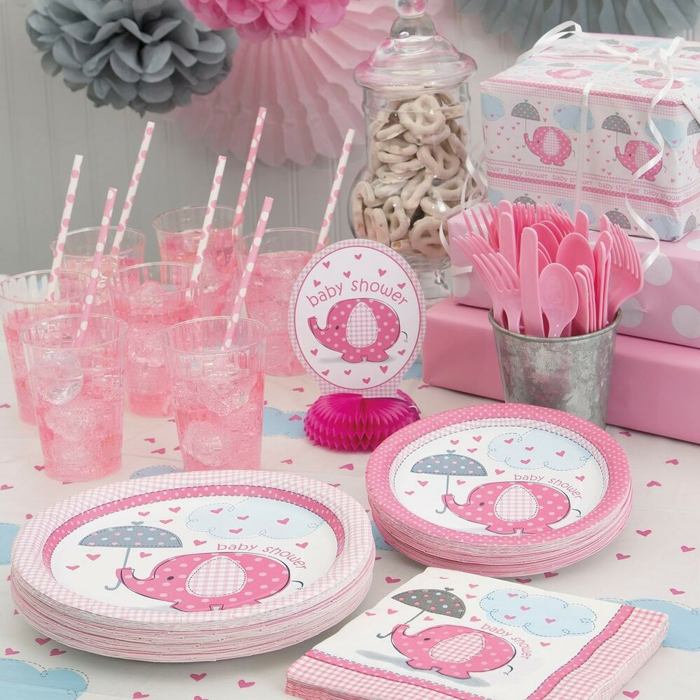 Details about PINK UMBRELLAPHANTS - Baby Shower Party Supplies ,Games,Tableware,Decorations,Gir