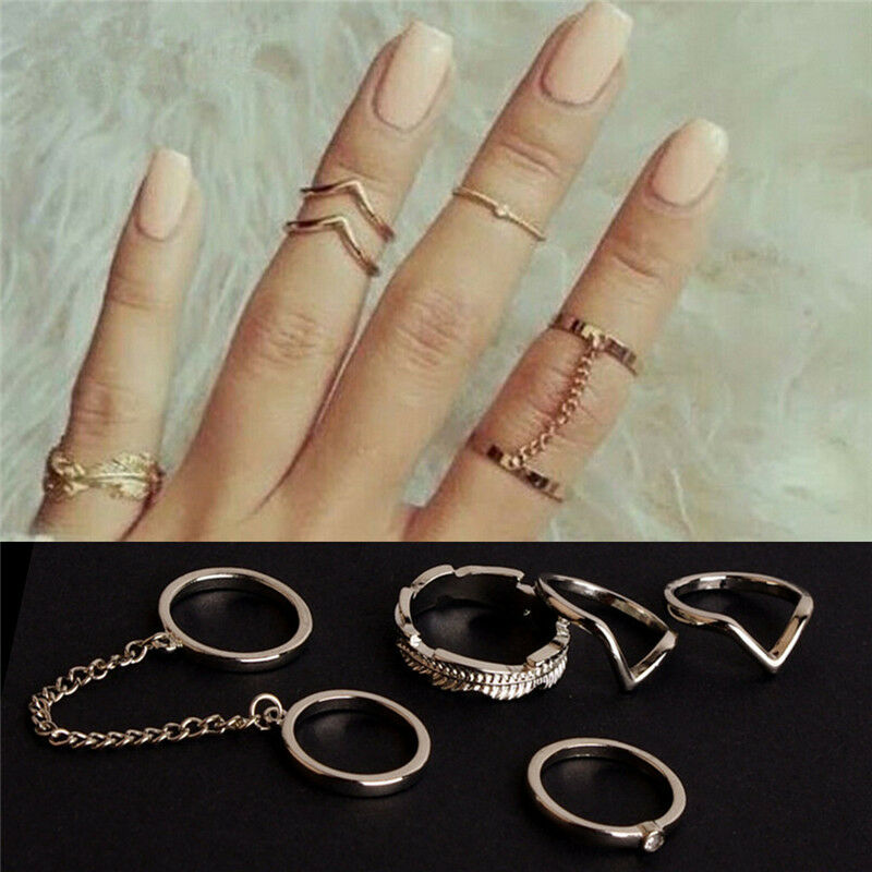 unique stacking rings shiny middle finger ring set