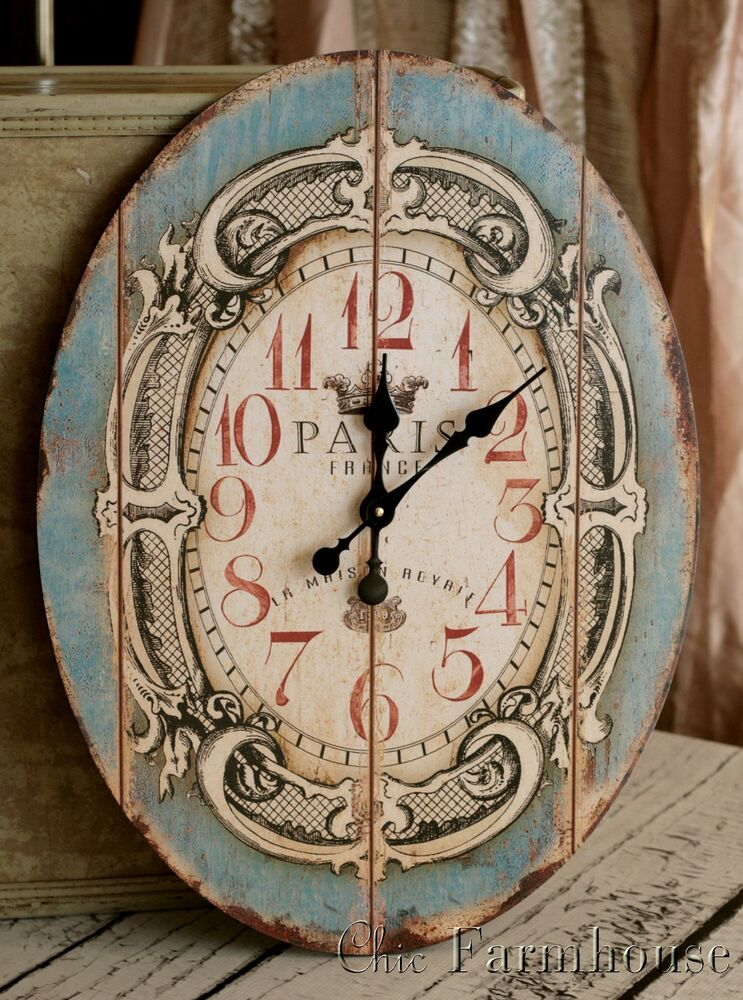 Chic Wall Clock Paris Shabby French Turquoise Large Oval