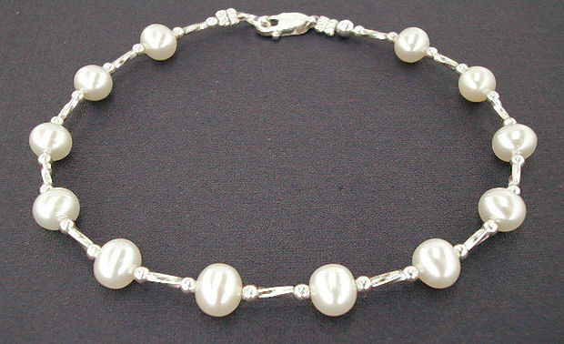 Silver and white pearl anklet small to plus size ankle for Plus size jewelry bracelets