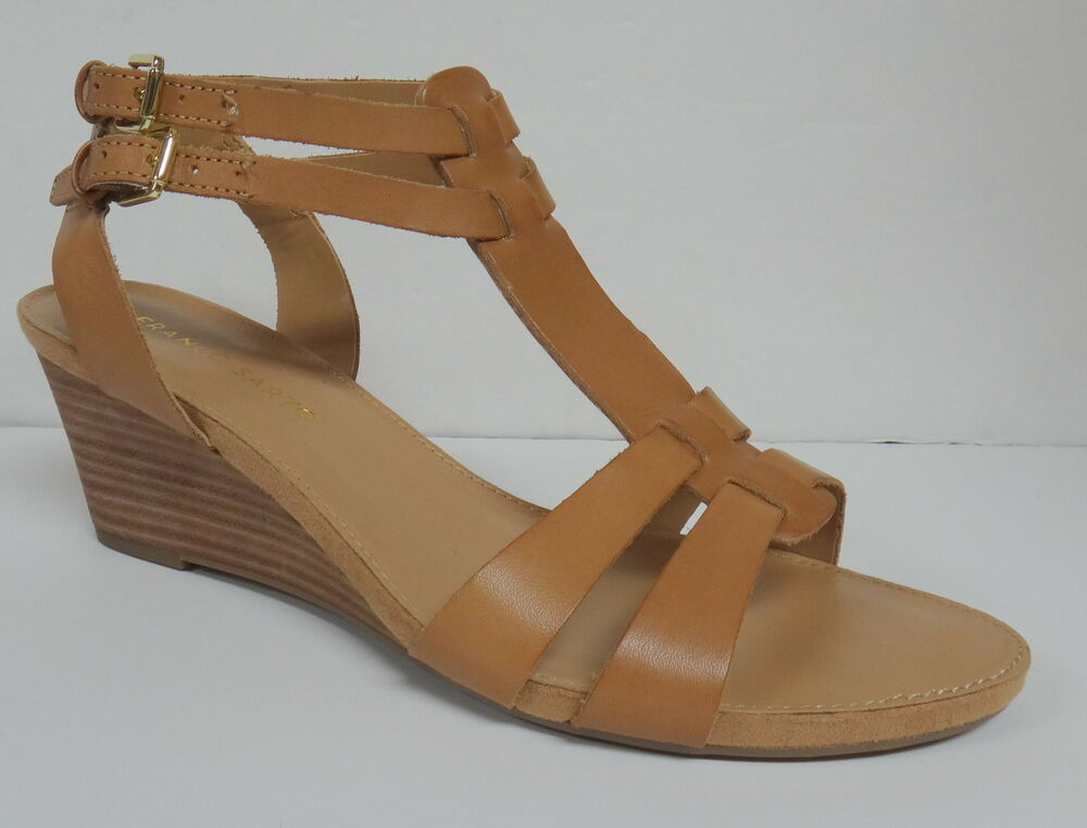 "FRANCO SARTO ""DARE"" LADIES WOMEN'S TAN LEATHER WEDGE HEEL"