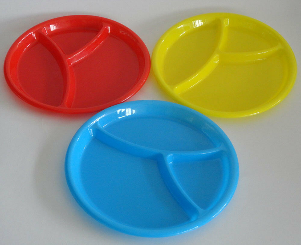 Baby Microwave Hard Plastic Round Divided Plates Dish Tray