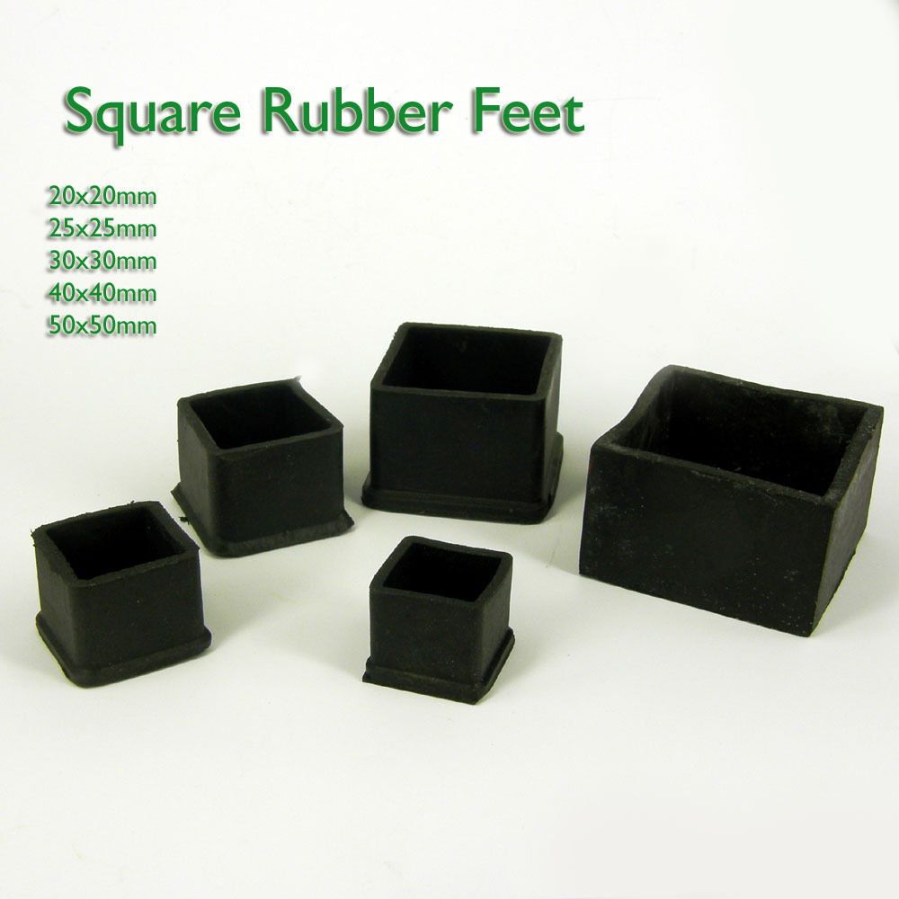 Square Rubber Chairtable Feet Furniture End Cover Caps 20