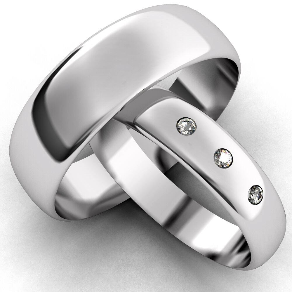white gold diamond set band his and hers set of wedding