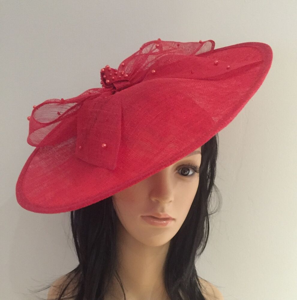 POPPY RED DISC FASCINATOR HAT ASCOT WEDDING OCCASION