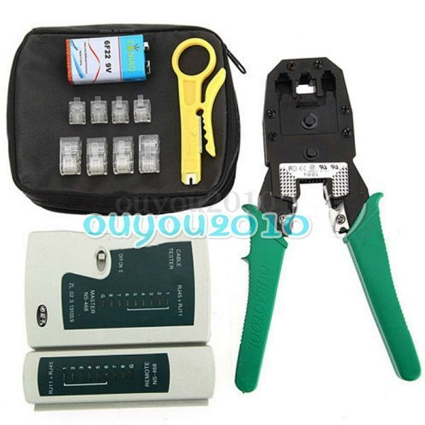 network ethernet lan kit rj45 cat5e cat6 cable tester crimper crimping tool set ebay. Black Bedroom Furniture Sets. Home Design Ideas
