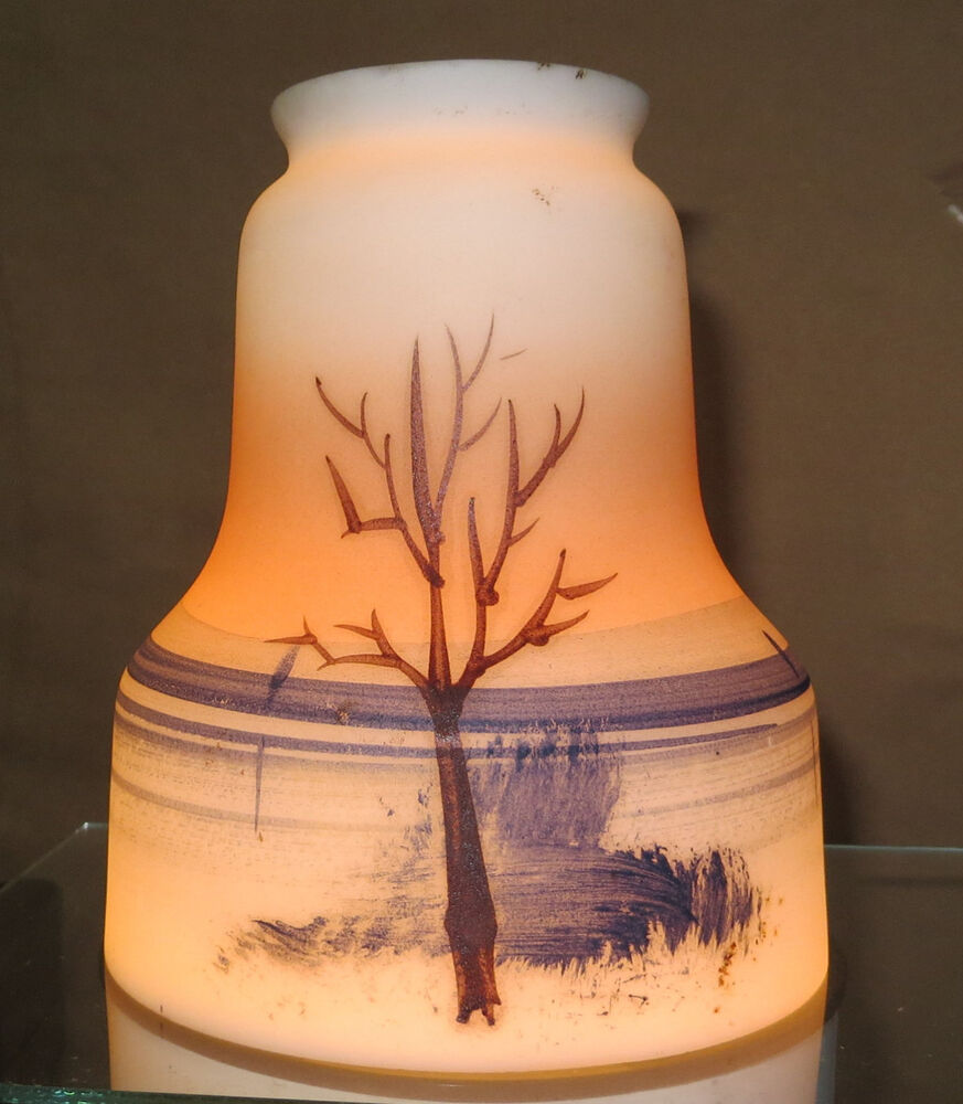 Hand Painted Lamp Shades: HAND PAINTED WINTER TREE SCENE FROSTED GLASS LAMP Pendant