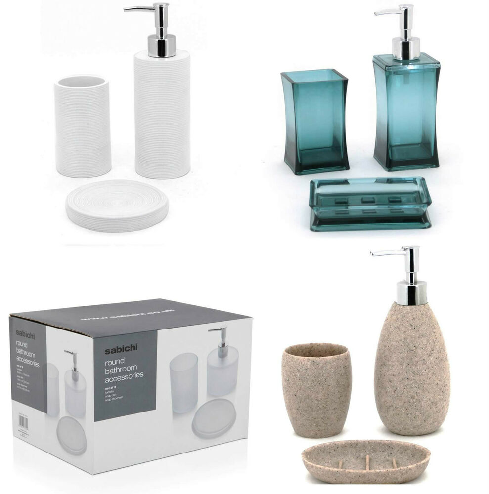 3 piece bathroom accessories set soap dish dispenser tumbler various style new ebay - Bathroom soap dish sets ...