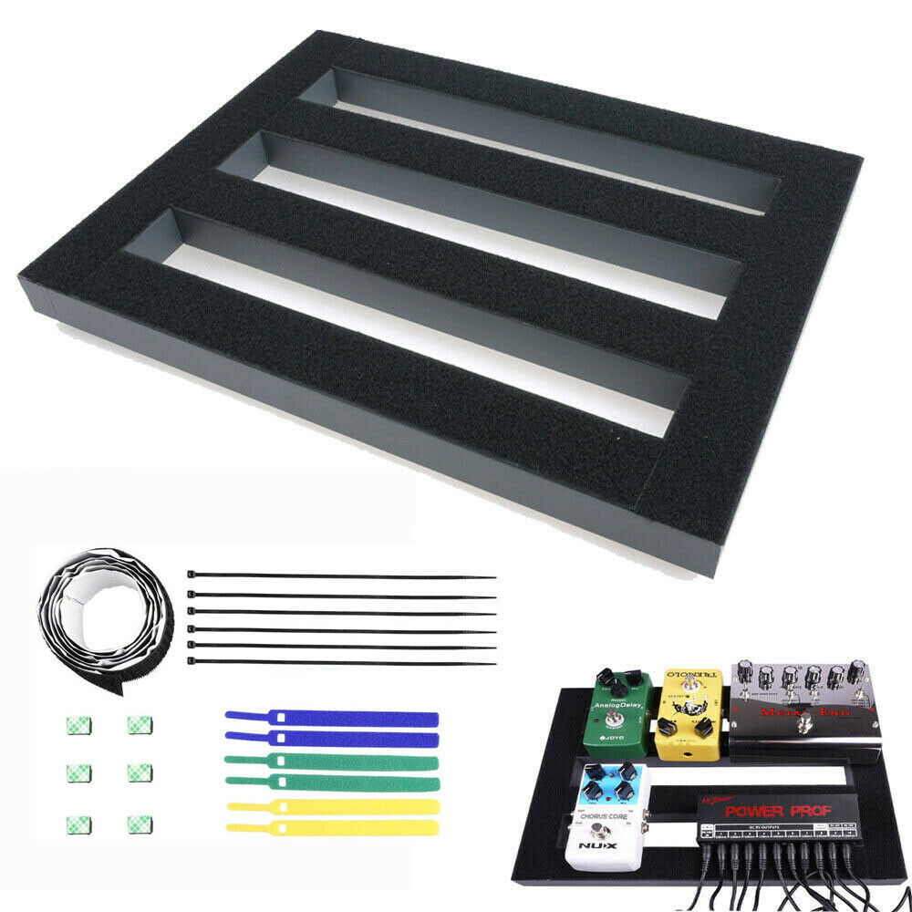 guitar effects pedalboard aluminum pedal board with magic cable straps ties new ebay. Black Bedroom Furniture Sets. Home Design Ideas