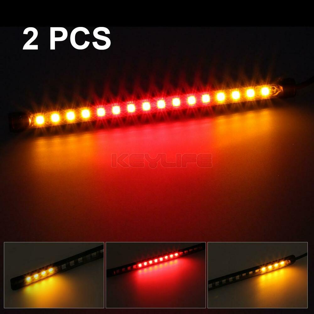 2x 8 Quot Motorcycle 32 Led Tail Brake Stop Turn Signal Light