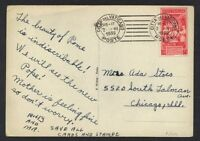 VATICAN CITY 1939 Sc. #69 TIED ON POST CARD TO CHICAGO USA