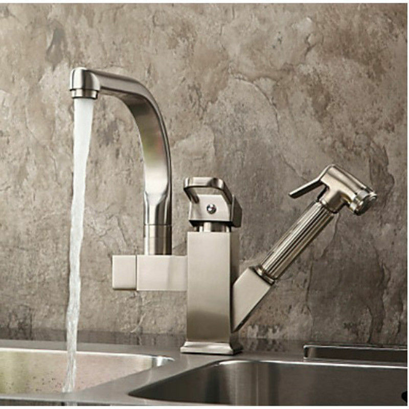 Brushed Nickel Pull Out Kitchen Bar Sink Faucet Single Handle Brass Mixer Tap Ebay