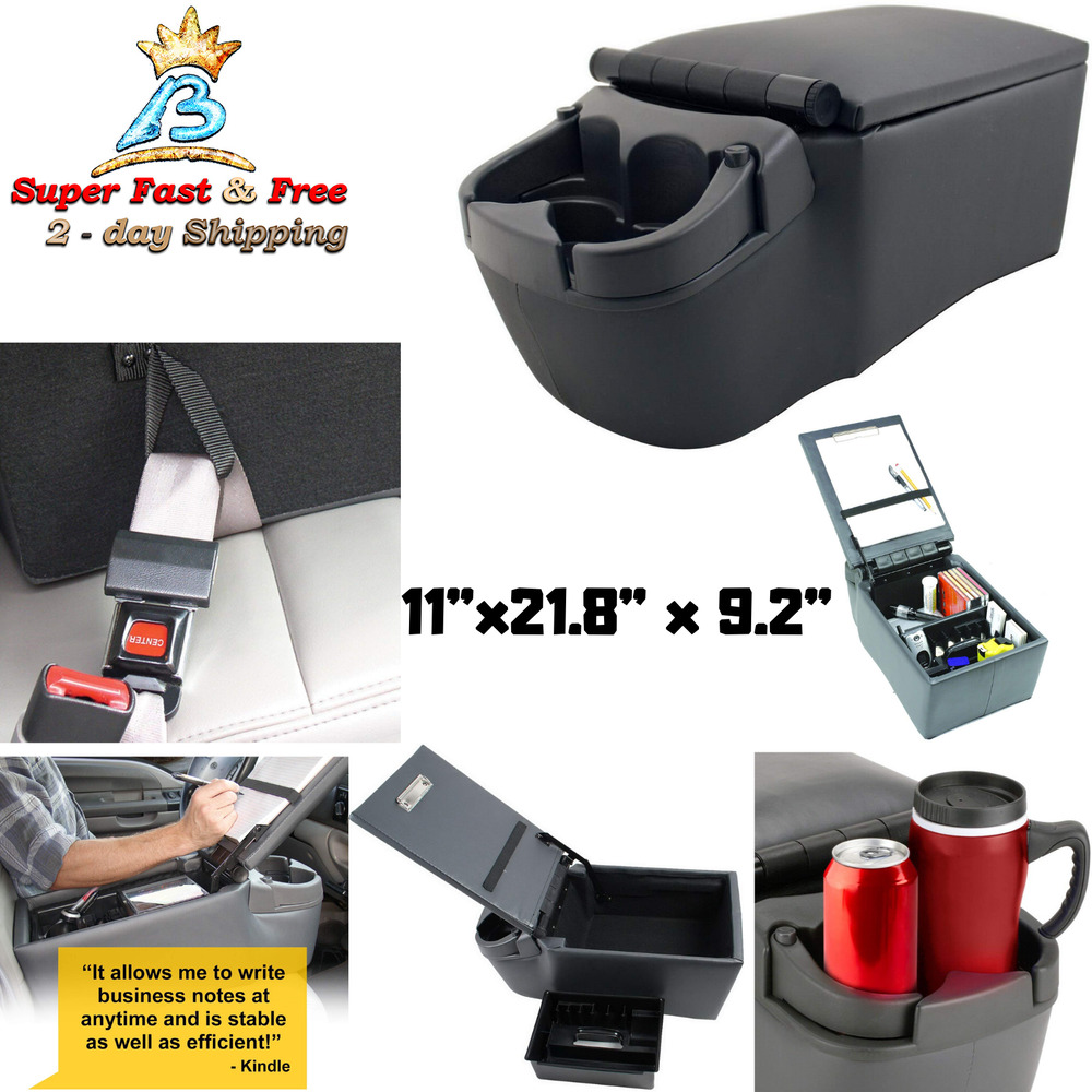 universal charcoal cup holder car bench seat contractor style center console new ebay. Black Bedroom Furniture Sets. Home Design Ideas
