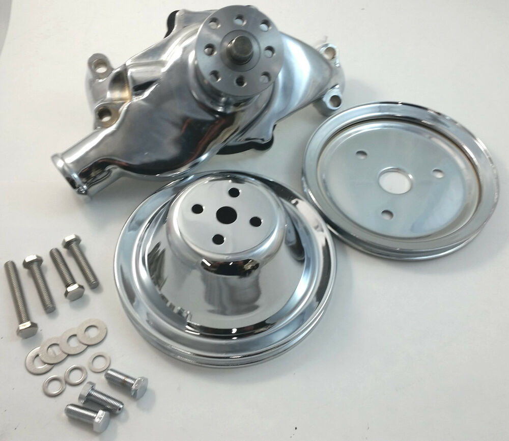 SB Chevy SBC Chrome Short Water Pump & 1 Groove Pulley Kit