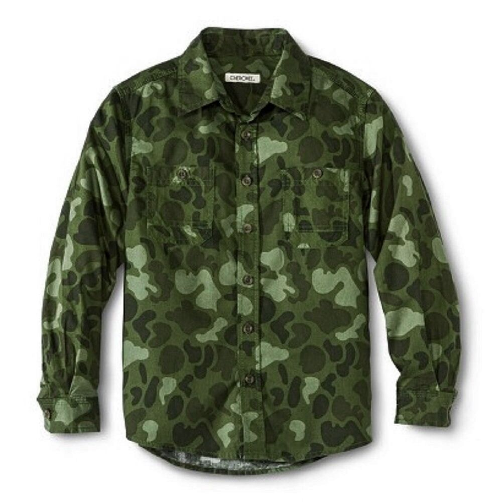 Cherokee Boys 39 Green Camo Camouflage Button Down Shirt