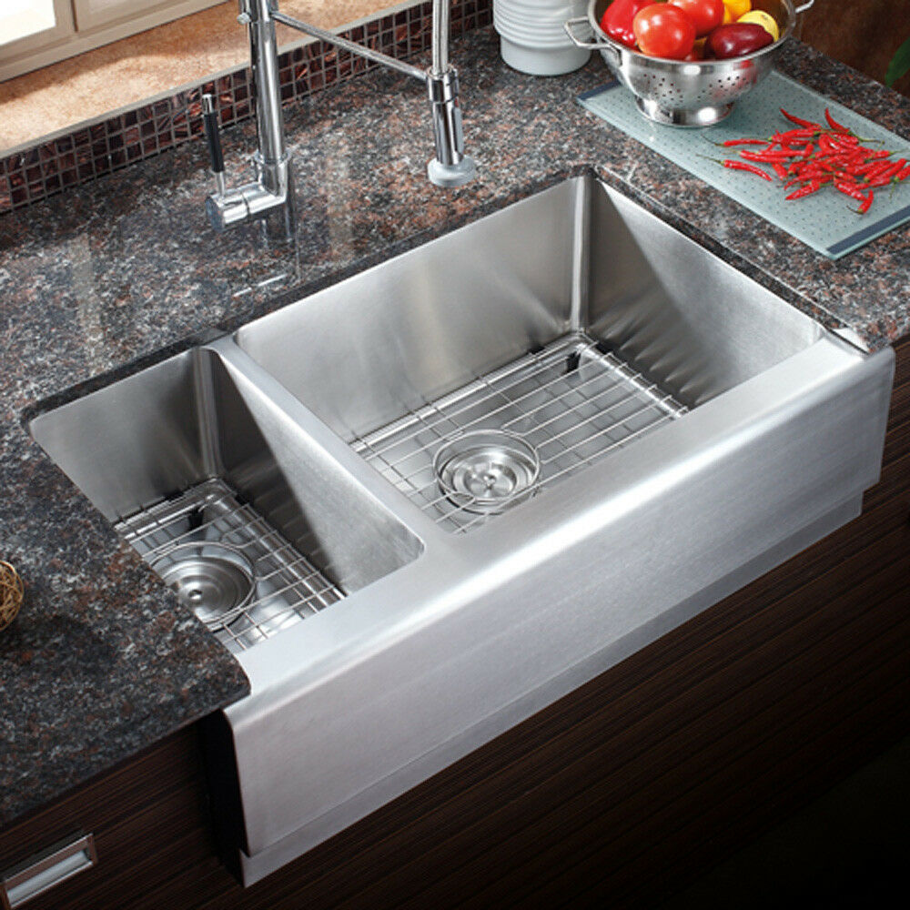 Az203r 33 stainless steel double bowl farmhouse apron Stainless steel farmhouse sink