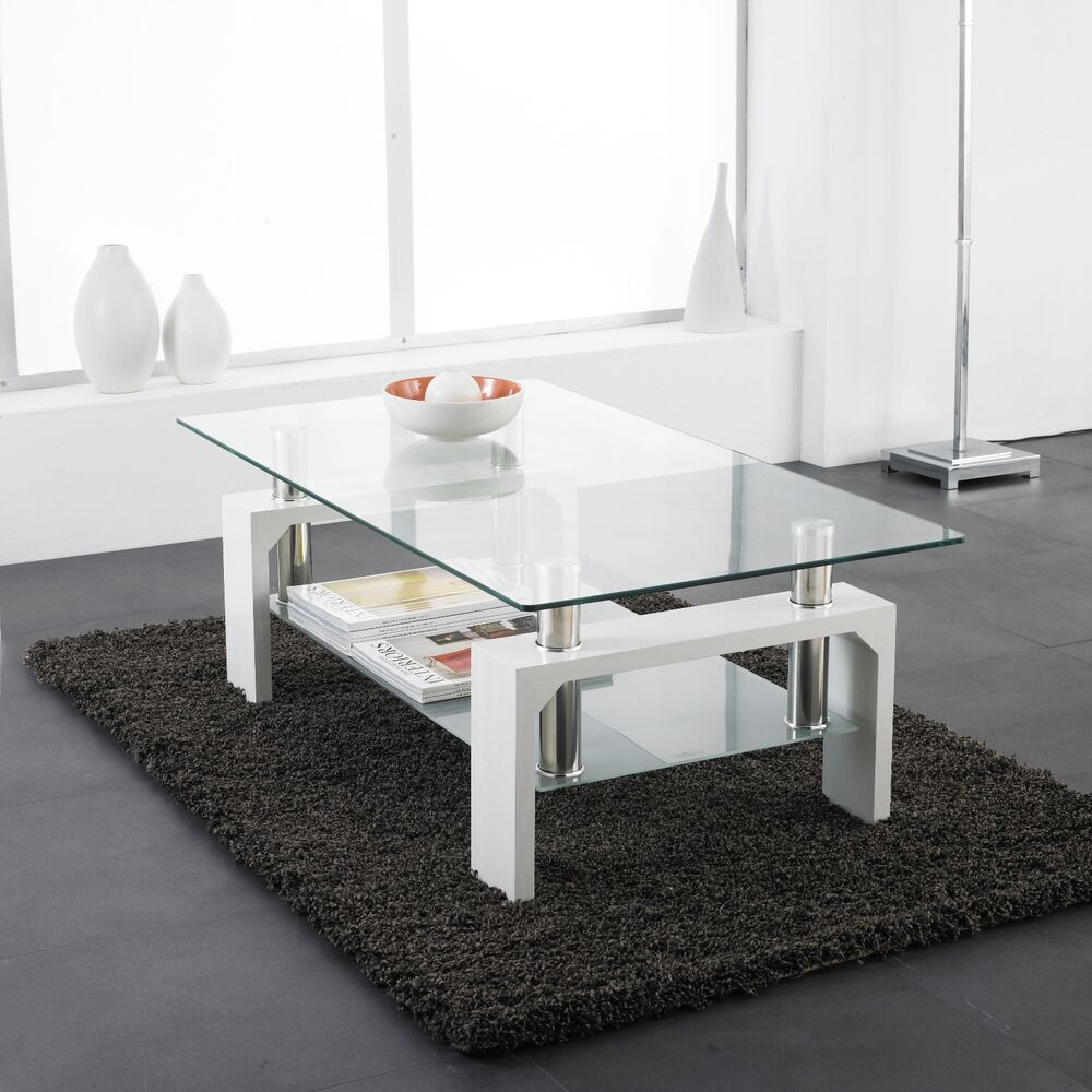 White modern rectangle glass chrome living room coffee - Brickmakers coffee table living room ...