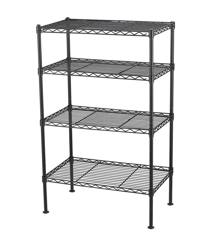 4 Tier Wire Shelving Rack Metal Shelf Adjustable Unit